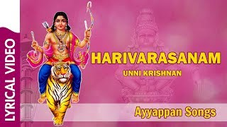 "Presenting the beautiful ""harivarasanam viswamohanam song with lyrics"" (devotional songs, bhakthi songs) in voice of unni krishnan. listen to this a..."