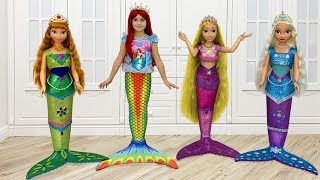 Sofia and Princesses turned into a real little mermaid