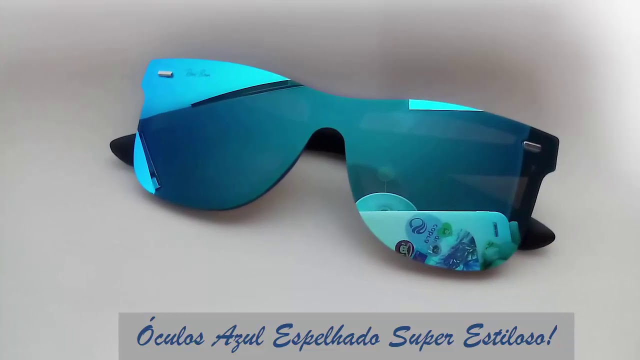 745987bc3 Óculos de Sol Masculino Barato Espelhado Azul - Quadrado Unissex ...