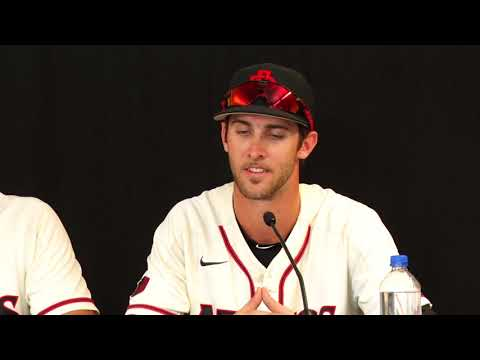 David Hensley and his college coach Mark Martinez in a postgame interview after losing toNorthwestern State University (June 2, 2018)