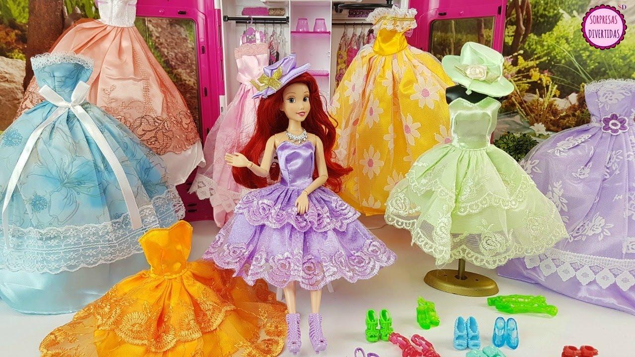 Ariel La Sirenita De Disney Prueba Vestidos Nuevos Para Muñecas Barbie Juegos De Moda Para Niños