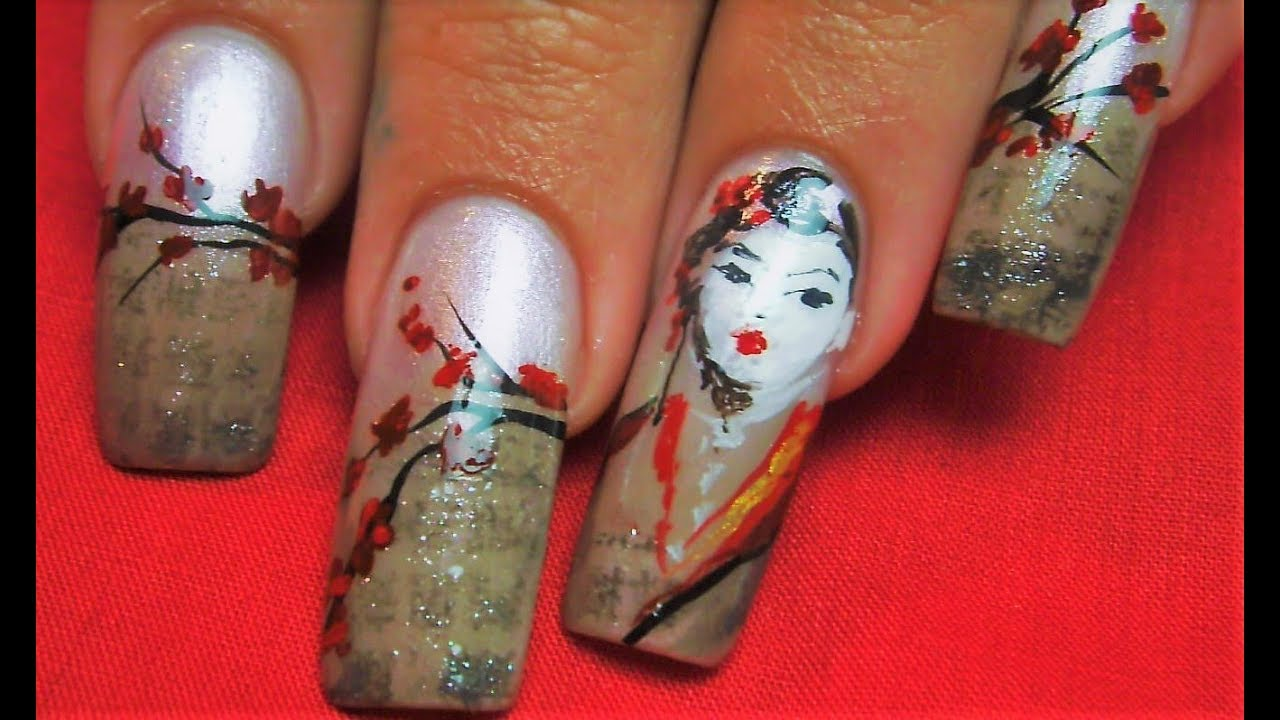 Japanese Geisha Newspaper Nails | Vintage Cherry Blossom Long Nail ...