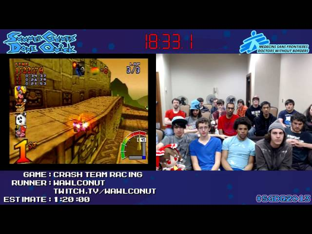 Crash Team Racing - SPEED RUN (0:58:15) [PS1] *Live at #SGDQ 2013*
