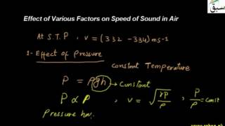 Effects of Various Factors on Speed of Sound in Air