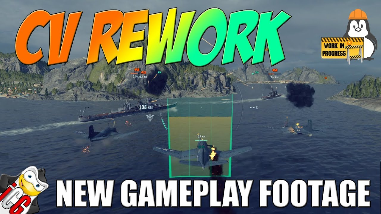world of warships - cv rework - new gameplay footage