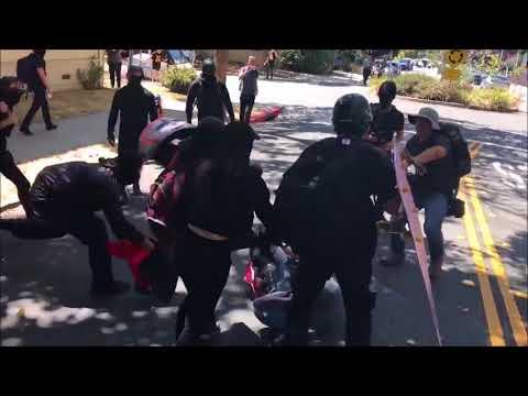 #Berkeley ANTIFA THUGS BEAT UP #MAGA Trump Supporter In All Black #Berkeley #BerkeleyProtest