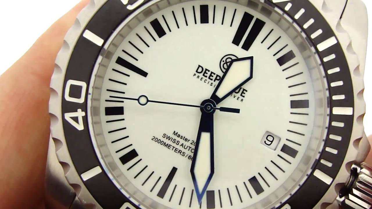 916176c314e Deep Blue Master 2000 II Lume Dial Watch - YouTube