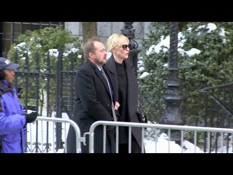 Cate Blanchett and Andrew Upton at Philip Seymour Hoffman Funeral service in New York