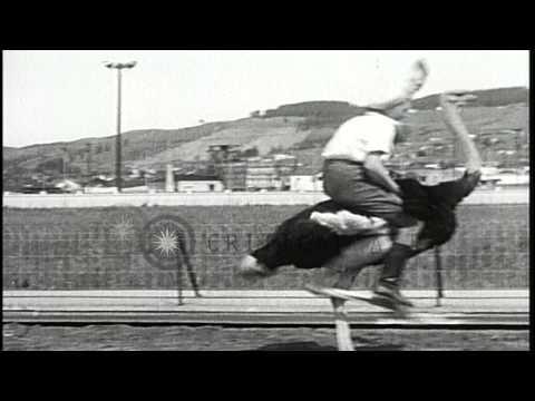 Women participate in Ostrich race in El Cerrito, California. HD Stock Footage