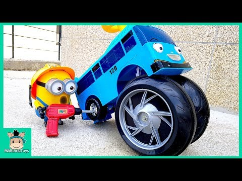 Thumbnail: Tayo Bus Wheel fell off. Minions changing wheel of Car. Learn Color Tayo in real life | MariAndToys