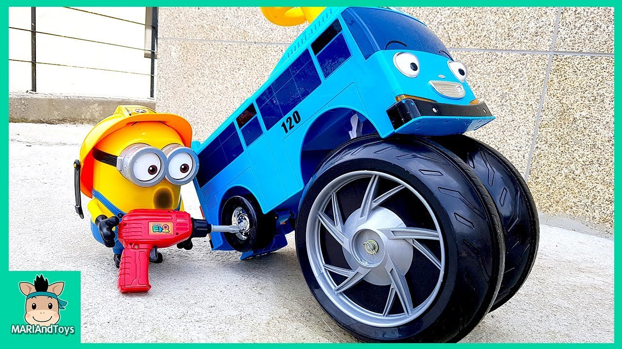 minions changing wheel of car learn color tayo in real life mariandtoys