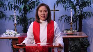 Rev. Elaine Cho delivers the message on June 21, 2020 at SCUMC.