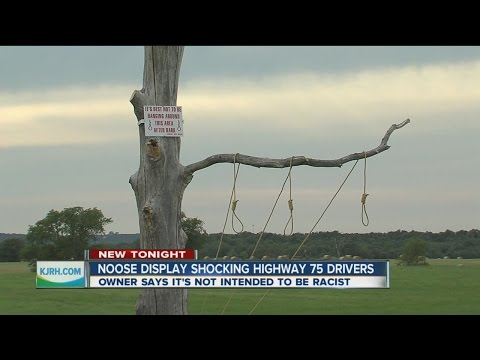 Noose display alongside Highway 75 near Mounds, Oklahoma in Okmulgee County