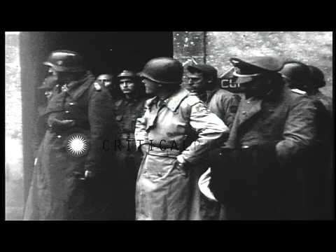 US General Joseph Lawton Collins confers with other officers in a Cherbourg durin...HD Stock Footage