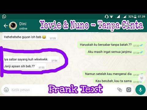Prank Text Pake Lagunya Yovie & Nuno - Tanpa Cinta || Bodo Amat Hehehehe