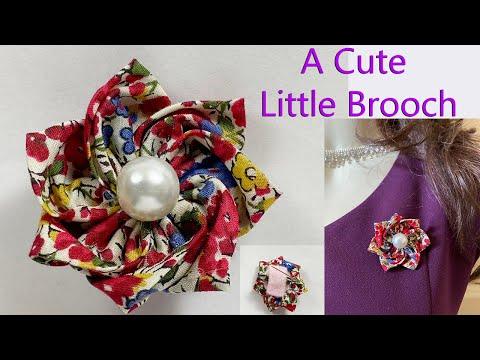 How to make Fabric Flower | Flower Brooch DIY Tutorial | Broche de flores | Broche fleur | フラワーブローチ