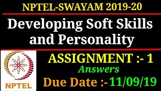 NPTEL | Developing Soft Skills and Personality | ASSIGNMENT - 1 Answers | 2019