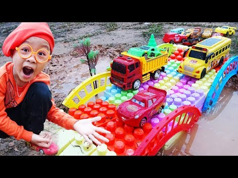 Build Bridge Blocks Toys For Kids Lightning Mcqueen Toys Car for Children | Dave Mario and brother