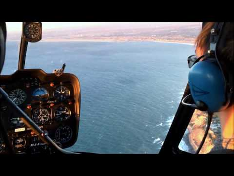 Helicopter Robinson R44 Over Long Beach