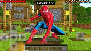 Playing as SPIDER MAN in Minecraft Pocket Edition!
