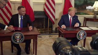President Trump Participates in a Joint Signing Ceremony with the President of Poland