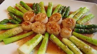 How to Cook the Perfect  Scallops w/ Asparagus in 10 mins • Chinese Seafood u0026 Vegetable Recipe