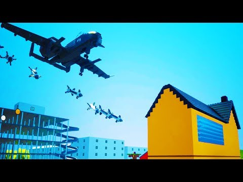 A-10 PLANE DROPS BOMBS ON MANSION MADE OF LEGO BRICKS! - Brick Rigs Workshop Creations Gameplay