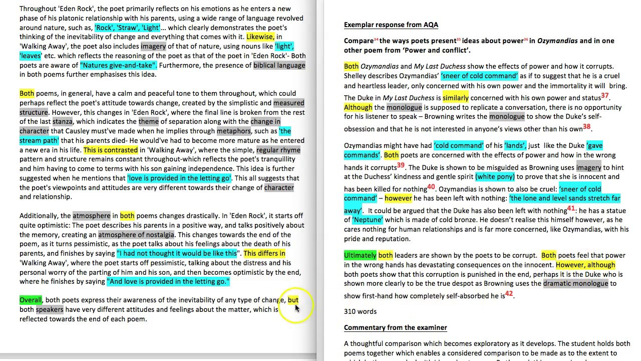 How To Compare Poems From Aqa Paper 2 8702 Elena39s Essay
