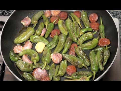 """""""Pimientos de Padrón"""" Vídeo receta 65 Aquí cocinamos todos. Cooking recipe"""