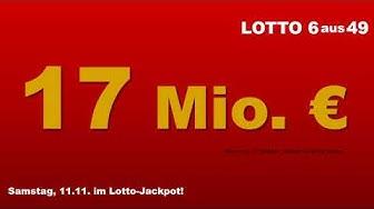 Lotto Ziehung am Samstag 11.11.2017: 17 Mio. € im Jackpot