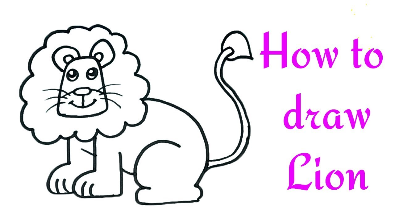 How To Draw A Lion For Kids Lion Drawing Lesson Step By Step