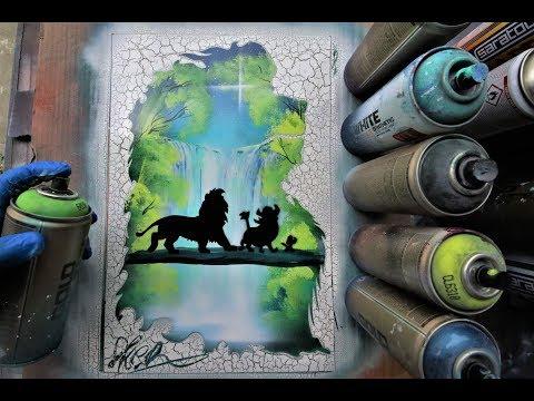 Lion King - HAKUNA MATATA Glow in Dark SPRAY PAINT ART by Skech