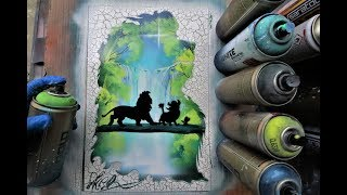 Lion King - HAKUNA MATATA Glow in Dark SPRAY PAINT ART by Skech