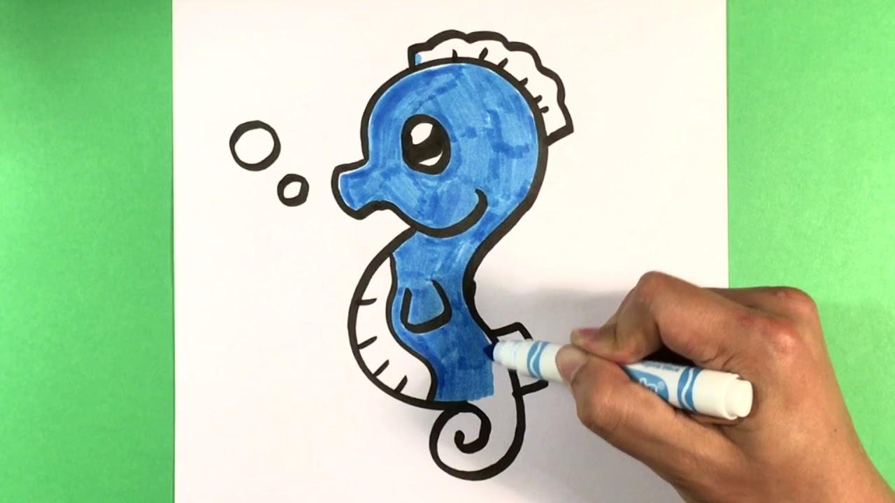 How To Draw Sea Horse Ocean Drawings Ute Drawing For Beginners Artist Fun Cute Animals Drawings Amaz