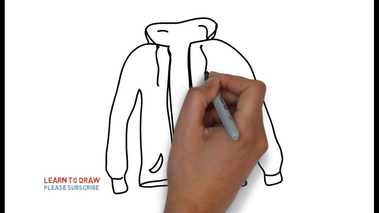 Easy Step For Kids How To Draw A Jacket Coloring Book Page And