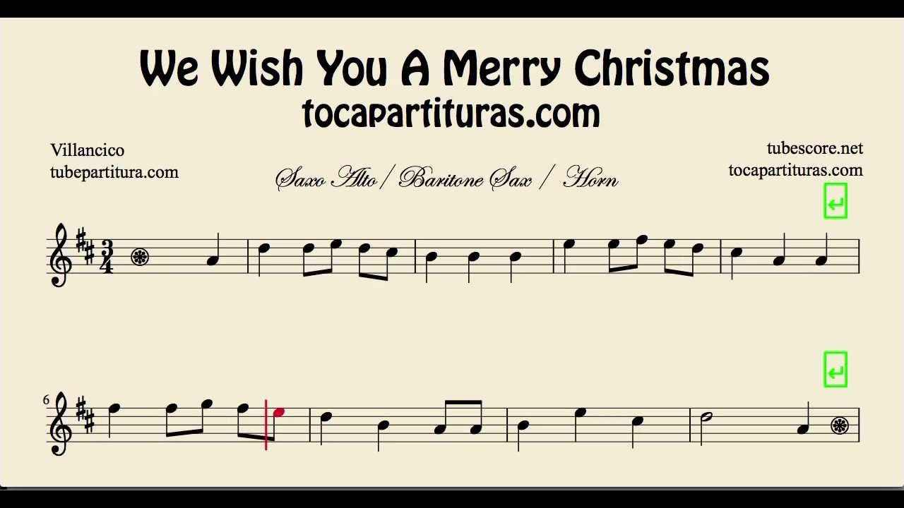 We wish you a Merry Christmas Sheet Music for Alto Saxophone ...