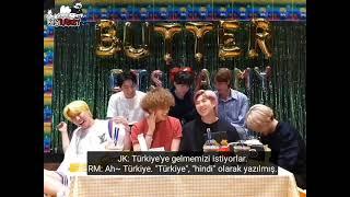"""BTS, """"Butter"""" yayınında """"Türkiye"""" yerine """"hindi"""" yazan hayranın yorumunu okuyor~ (Türkçe Altyazılı)"""