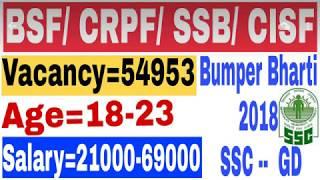 CISF,CRPF,SSB,BSF Government job 2018