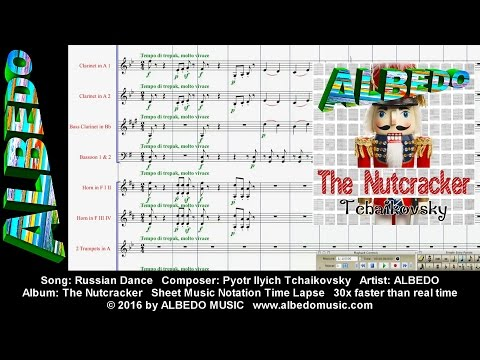 Sheet Music Notation Time Lapse. ALBEDO The Nutcracker. Russian Dance. Tchaikovsky.