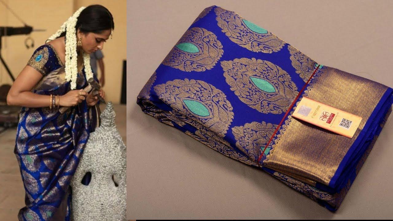 cfac525566 1046 Anushka Shetty Blue Kanchipuram Silk Saree At Weavers Price ...