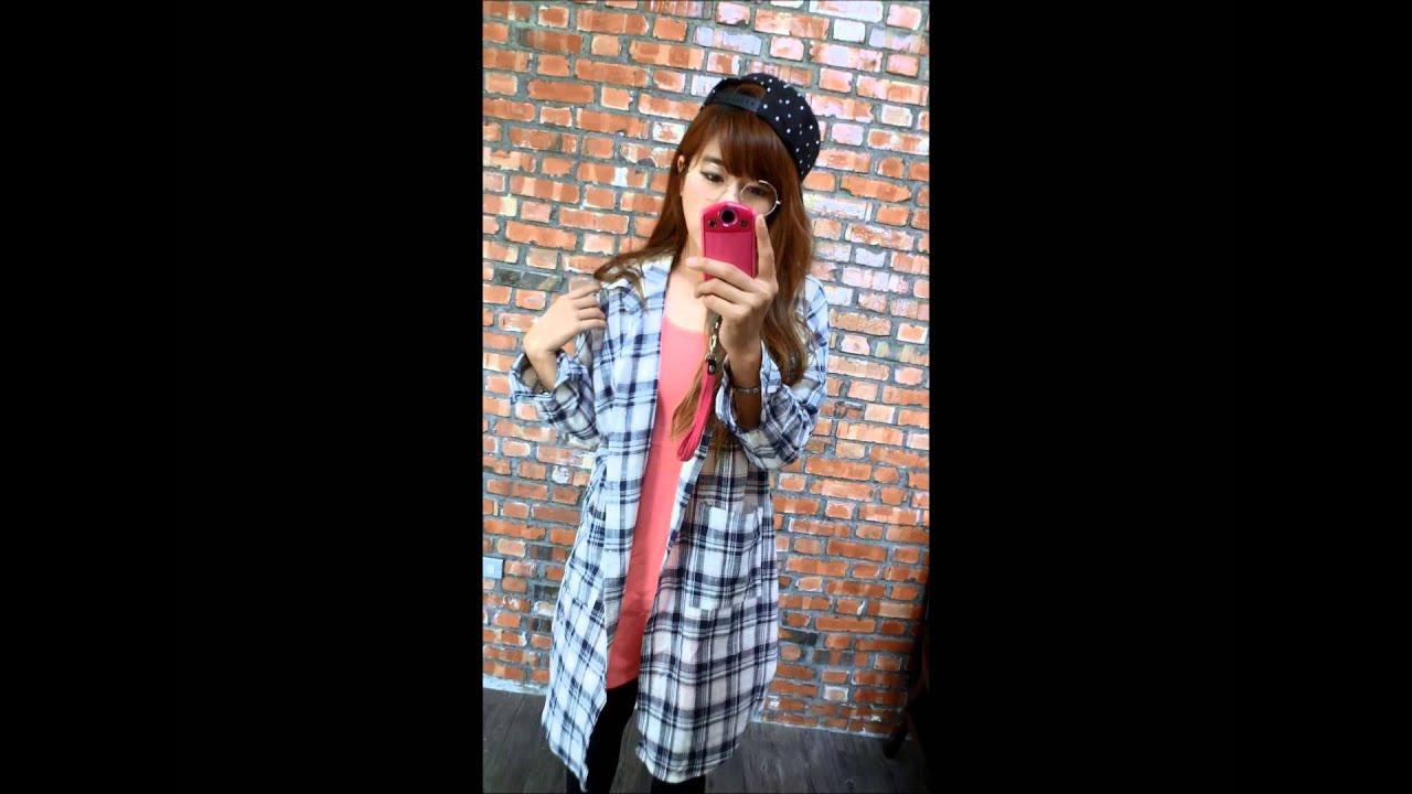 【KATZE】P韓系格子長版襯衫穿搭介紹 - YouTube