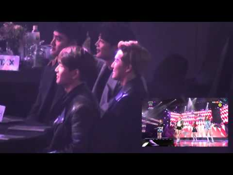 SHINee & EXO react to Red Velvet's Dumb Dumb @ 160114 SMA