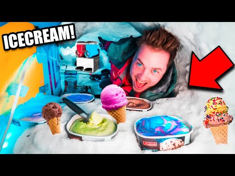 Worlds Biggest SNOW FORT ICE CREAM Shop! Box Fort Igloo Challenge - Candy, Snow Cones & More!