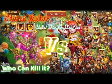 Storm Eater Vs All Damage Hero WHICH HERO CAN KILL HIM? Castle Clash