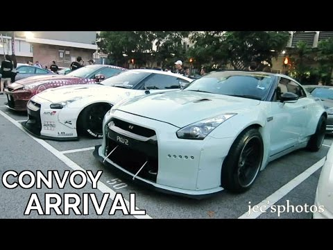 50+ Nissan GTR R35s and Supercars Convoy Arriving at LUXI Dance Club