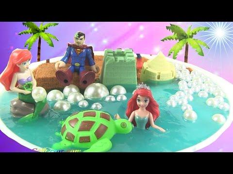 DIY Pearl Beach Minature Scene With Ariel The Mermaid and Superman   MAKE SLIME   Rainbow Collector