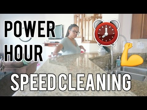 SPEED CLEANING MY HOUSE SAHM || POWER HOUR SPEED CLEAN ROUTINE