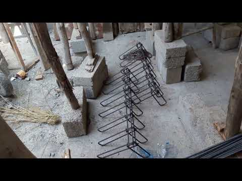 House construction in Bangalore - Assembling chain steps steel for duplex house's interior steps