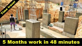 Step By Step Indian 30*40 house construction, time lapse - 5 months work in 48 minutes