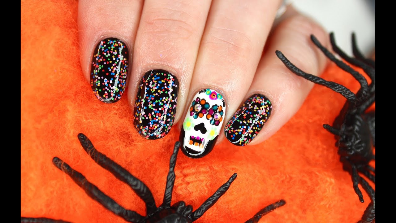 Easy Sugar Skull Spooky Halloween Nail Art With Crystals Youtube